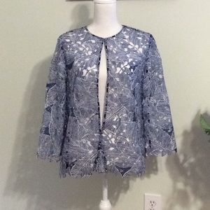 """❤️Chico's Navy/white open lace jacket, size """"1"""""""